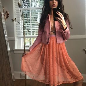 NWOT American Apparel lace coral pink skirt